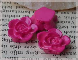 Acryl bloem kralen fuchsia. Per 10