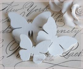 Houten vlinders wit