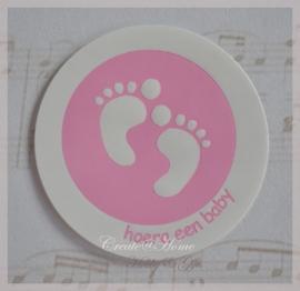 Geboorte stickers voetjes lichtroze. Per 10