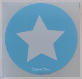 Ronde stickers met ster lichtblauw/wit. Per 10