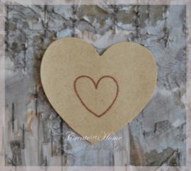 Kraft sticker hartjes in 3 kleuren stempels. Per 10