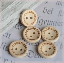Setje van 6 houten knopen naturel Handmade