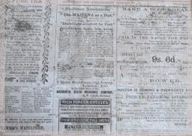 Vintage krantenknipsels karton dubbelzijdig. Per stuk