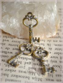 Bedel sleuteltjes metal look goud/zilver. Per 10