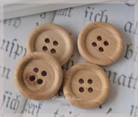 Setje van 4 houten knopen donker naturel