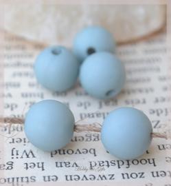 Acryl kralen rond mat ijsblauw. Per 10