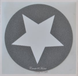 Ronde stickers met ster grijs/wit. Per 10
