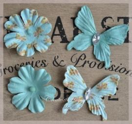 Papieren bloemen of vlinders turkoois. Per 2