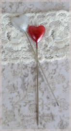 Spelden hartje rood of wit. Per 5