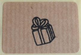 Kraft stickers rechthoek cadeautje in 5 kleuren. Per 10
