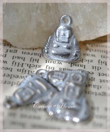 Bedel Boeddha's metaal wit zilver. Per 10