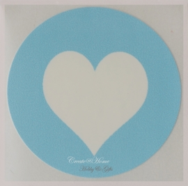Ronde stickers met hartje lichtblauw. Per 10