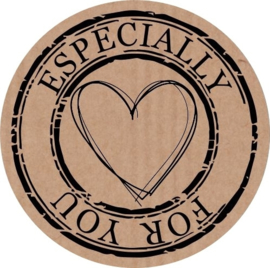 Kraft stickers rond Especially for you. Per 10