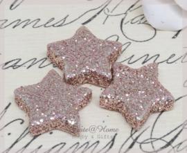 Glitter sterretjes vintage roze. Per 10