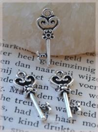 Bedel sleuteltjes metal look zilver. Per 10