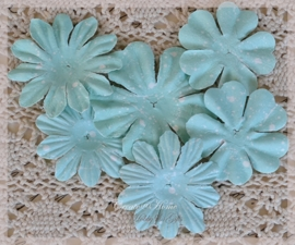 Papieren bloemen mint. Per setje
