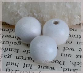 Houten kralen wit glans. Per 10