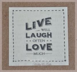 Vintage stickers Live, laugh, love. Per 5