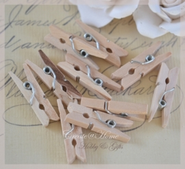 Knijpertjes hout naturel. Per 10