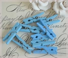 Knijpertjes hout blauw. Per 10