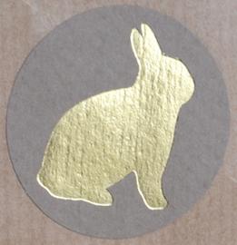 Kraft stickers rond gouden konijn. Per 10