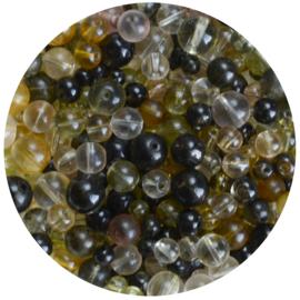 Zakje kralen olijfgroen tinten