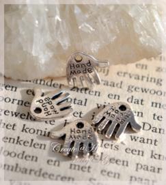 Bedel handjes Handmade metaal zilver. Per 10