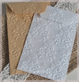 Bewerkte pergamijn & kraft loonzakjes, retro. Per 10