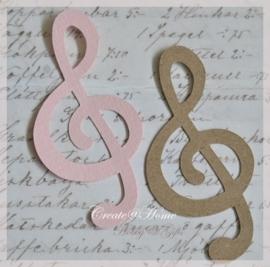 Muzieksleutel van linnenpapier in vele kleurtjes & 2 afm. Per 10