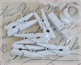 Knijpertjes hout wit. Per 10