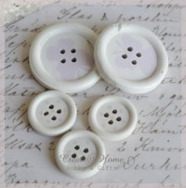 Houten knoopjes wit/lila. Per 2