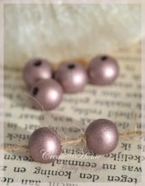 Houten kralen rond donker vintage roze. Per 10