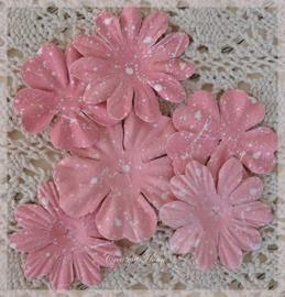 Papieren bloemen poederroze. Per setje