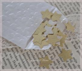 50 sterretjes kraft stickers in een pergamijn zakje in diverse afm. & kleuren