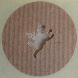 Kraft stickers rond met uitgesneden engel. Per 10