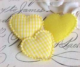 Hartjes van vilt geel. Per 5