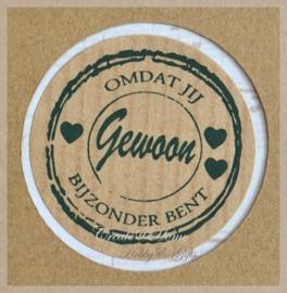 Kraft stickers rond Gewoon. Per 10