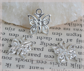 Bedels vlindertjes metaal zilver. Per 10