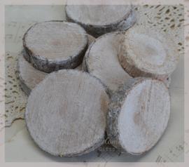 Boom schijfjes, ruw hout. Per setje van 5