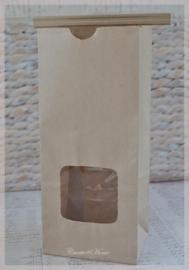 Kraft theezakjes sluitstrip met/zonder venster. Per 5