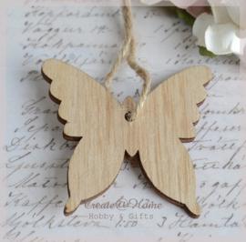 Houten vlinders naturel bruin. Per 4
