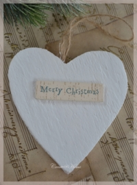 Houten hartjes Merry Christmas. Per 3