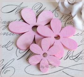 Houten bloemen roze