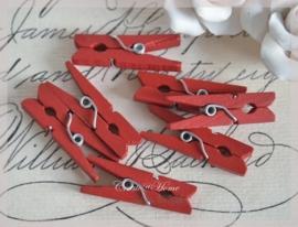 Knijpertjes hout rood. Per 10