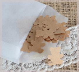 Gegomde beertjes bruin of wit in een pergamijn of kraft loonzakje