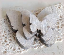 Houten vlinders naturel