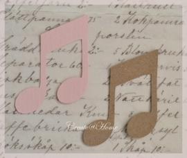 Muzieknoten 2 van linnenpapier in vele kleurtjes & 2 afm. Per 10