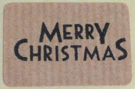 Kraft stickers rechthoek Merry Christmas in 5 kleuren. Per 10