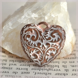 Bedel hart metal look koper/zilver. Per 5