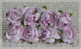 Papieren roosjes lila. Per 8